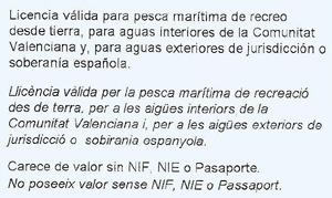 Reverso de Licencia de pesca recreativa de la Comunidad Valenciana 2016